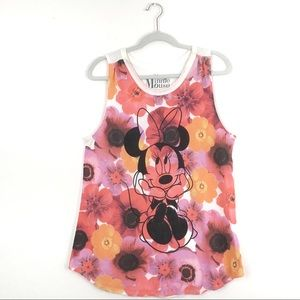 Pink Minnie Mouse Floral Graphic Tank Top XL